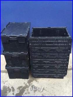 100x 60ltr Heavy Duty Plastic Storage Tote Boxes 60 x 40 x 30cm ALC Folding Lid