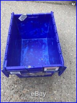 100x 65ltr Heavy Duty Plastic Storage Tote Boxes 60 x 40 x 35cm ALC Folding Lid