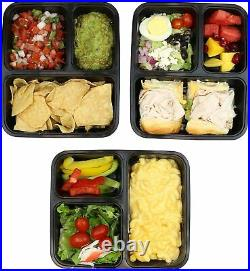 10PCS PLASTIC 3 COMPARTMENT FOOD STORAGE CONTAINER WithLID MEAL PREP LUNCH BOX SET