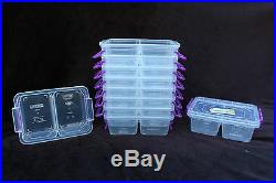 10X 500ml divided lock & clip box container food storage microwave freezer