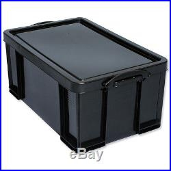 10 Black 64L Recycled Plastic Heavy Duty Stacking Storage Boxes with Lid/Handles