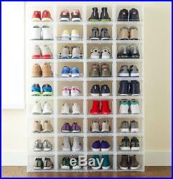 10 Men's Drop-Front Shoe Box Men Shoe Boxes Sneaker Container Storage Organizer