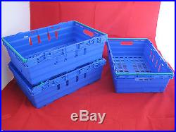 10 New Blue/Green Stack Removal Storage Crate Box Container 35L