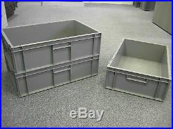 10 New Grey Plastic Storage Removal Crates Box Container 33L