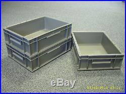 10 New Plastic Storage Crates Box Container 10L Grey