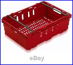 10 New Red Stack Removal Storage Crate Box Container 35L