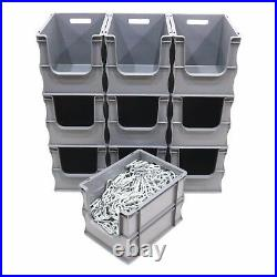 10 x 25 Litre Open Front Grey Plastic Parts Storage Containers Boxes Box Bins