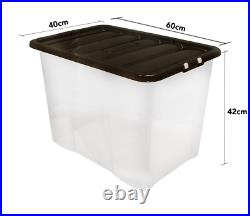 10 x 80 Litre CLEAR PLASTIC Large Storage Box With Black Lids Strong Nestable