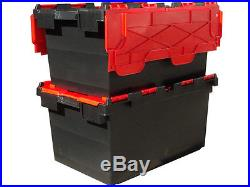 10 x LARGE Plastic Crates Storage Box Containers 80L BLK/RED LID
