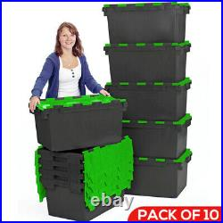 10 x LARGE Plastic Crates Storage Box Containers 80L Black Body with Green Lid