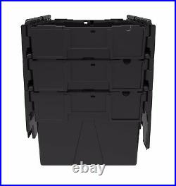 10 x NEW BLACK 56 Litre Plastic Storage Boxes Containers Crates Totes with Lids