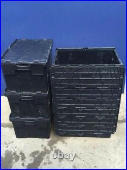 12 x 60ltr Heavy Duty Plastic Storage Tote Boxes 60 x 40 x 30cm ALC Folding Lid