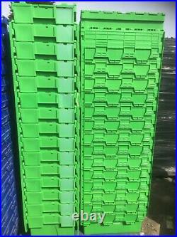 12 x 65ltr Bright Green Heavy Duty Plastic Storage Tote Boxes 60 x 40 x 35cm