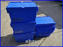 12 x 65ltr Heavy Duty Plastic Storage Tote Boxes Moving 60 x 40 x 36cm