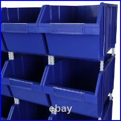 12 x Blue Plastic Parts Bins Component Storage Boxes Picking Bin Workshop Box