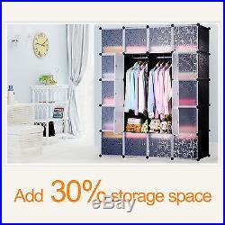 14 Boxes 4 Tiers Interlocking Plastic Cube Storage Clothes Wardrobe Organizer