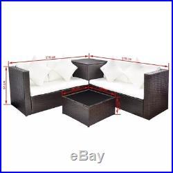 14 Pieces Rattan Outdoor Garden Corner Sofa Set Furniture With Storage Box Brown