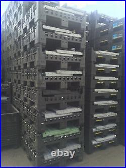 156 x PLASTIC STORAGE FOLDING PALLET BOX CONTAINER MAGNUM FLC K975 500KG