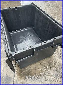 15 X Heavy Duty Plastic Storage Tote Boxes 70x47cm Crates Hinge Lids Stackable
