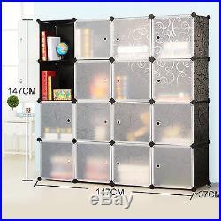 16 Boxes 4-Tier Interlocking Cube Plastic Storage Bookshelves Bookcase Organizer