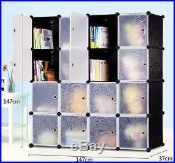 16 Boxes DIY Organizer Stand Storage Interlocking Bookcases Rack with Metal Base