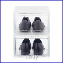 18 Men's Drop-Front Shoe Box Translucent Sneaker Container Storage Organizer