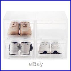 20 Men's Drop-Front Shoe Box Translucent Sneaker Container Storage Organizer