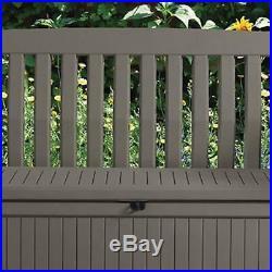 227L Plastic Garden Storage Bench Box Inclusive Under Chair Seat Store Brown New