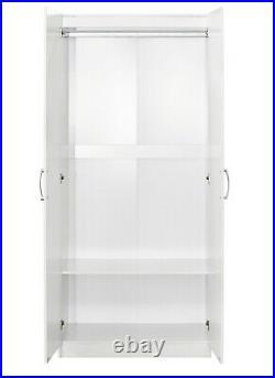 2 Door Double Wardrobe White Bedroom Furniture Cupboard Storage Cabinet Hanging