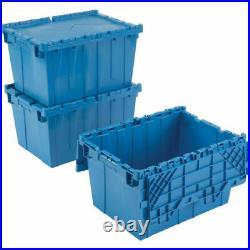 30 Plastic Storage Tote Hinged Lid Storage 21-7/8 x 15-1/4 x 12-7/8 BLUE Box Bin