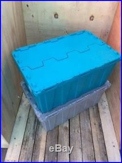3 x 80ltr Heavy Duty Plastic Storage Tote Boxes 68 x 44 x 31cm ALC Folding Lid