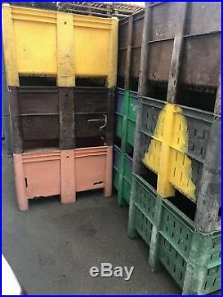 3 x DOLAV Plastic Pallet Box Storage Bin 1200 X 1000mm Heavy Duty B-Grade