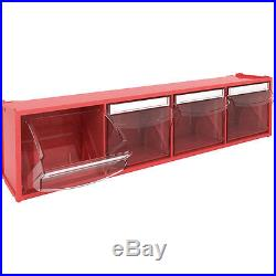 4 Compartment TILT BIN, Tilting box Workshop / Van Storage, plastic parts bin