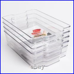 4 x Medium Fridge Storage Box Container Set Kitchen Food Organiser Holder New