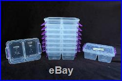 500ml divided lock & clip box container food storage microwave freezer with lid