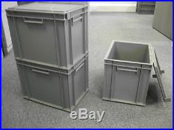 5 New Grey Plastic Storage Crates Box Container 30L