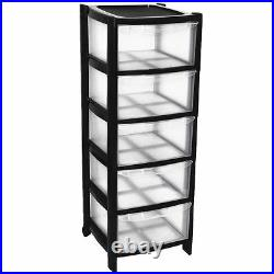 5 Plastic Storage Drawers Large Tower Black Colour Tall Tower