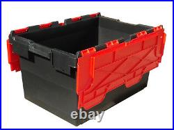 5 x LARGE Plastic Crates Storage Box Containers 80L BLK/RED LID