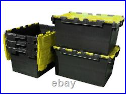 5 x LARGE Plastic Crates Storage Box Containers 80L Black Body with Yellow Lid