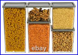 5pcs Airtight Dry Food Container Durable Cereal Storage Clear Lid Tubs Box