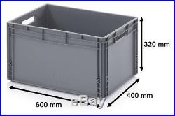 600 x 400 Euro Stacking Heavy Duty Plastic Storage Containers Boxes Crates GREY