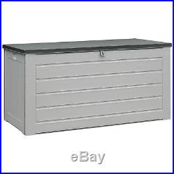 680 Litre Outdoor Garden Storage Box With Plastic Lid In Grey