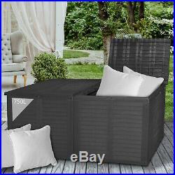 750L Storage Box Rattan Double Lid Cushion Garden Box Outdoor Plastic Tool Chest