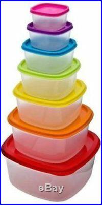 7pc Clear Plastic Food Storage Box Container Set Multi Colour Lids