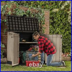 845L Keter Wood Effect Garden Storage Box Outdoor Wheelie Bin Shed Tools