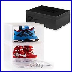 8 x Premium Clear Side Drop BOGO Mens Shoe box Sneaker Crates Storage Container