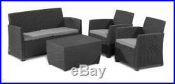Aliibert Garden Furniture, Plastic 4 Seater, 1 Sofa, 2 Chairs, 1 Storage Box, 9562