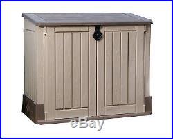 Beige Brown Midi Storage Box/Cupboard Outdoor Garden Furniture 130 x 74 x 110 Cm