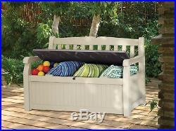 Bench Outdoor Storage Plastic Patio Chest Toy Box Garden Furniture 2 Seater Seat