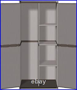 Broom Holder Cabinet Plastic Cupboard Storage Shelves Utility Outdoor Garden Box